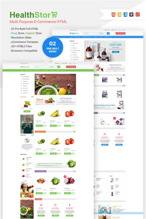Health Shop Multi Purpose Ecommerce Website Template 65772 Store Html Template
