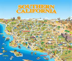 california sightseeing map quot map of southern california quot travel mugs by dave