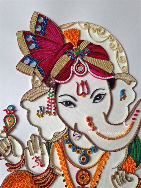 Handmade Ganesh Ji - made to order handmade paper quilling ganesha by