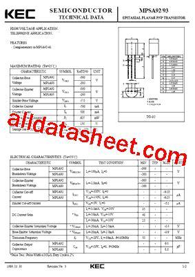 transistor mpsa92 datasheet mpsa92 datasheet pdf kec korea electronics