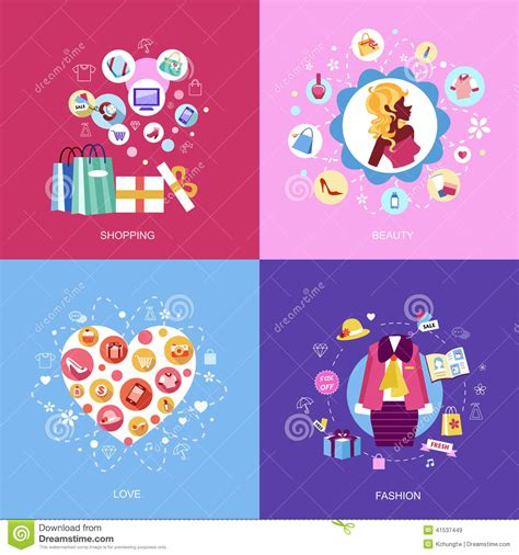 i love shopping icon and concept stock vector set of flat design concept icons stock vector image