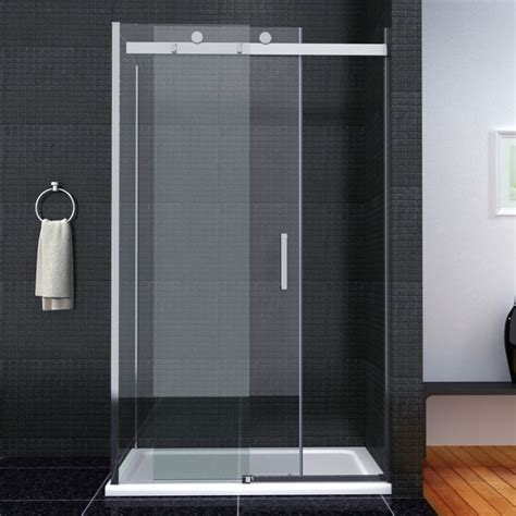 Shower Tray And Door Luxury Frameless Sliding Shower Door Enclosure Easyclean Glass Screen Tray Ebay