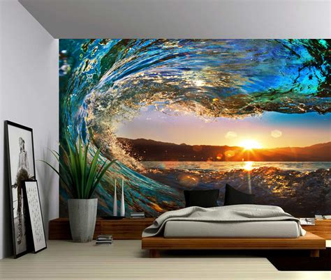 wall mural vinyl sunset sea wave large wall mural self adhesive vinyl