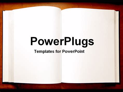 Book Powerpoint Templates powerpoint template an open book with blank pages as a metaphor on a brown background 10946