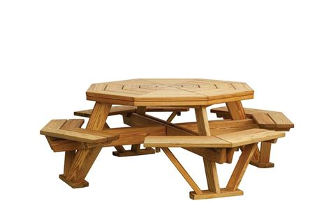 amish pine octagon picnic table with benches