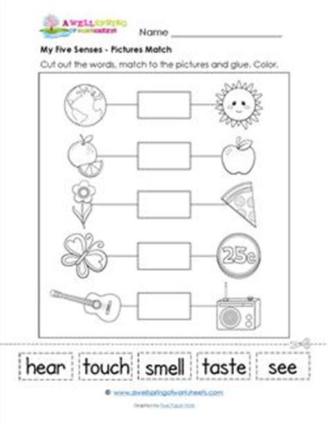senses matching worksheet  kindergarten