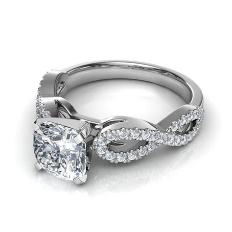 Side Ring cushion cut engagement rings with side diamonds