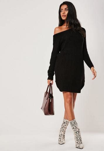 black  shoulder knitted sweater dress missguided
