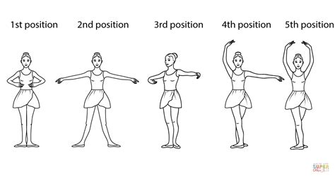 ballet positions coloring page free printable coloring pages