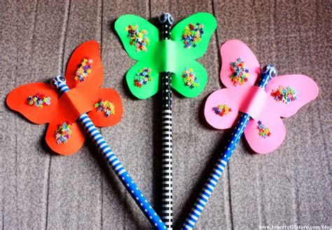 kid crafts summer crafts for butterfly pencil topper