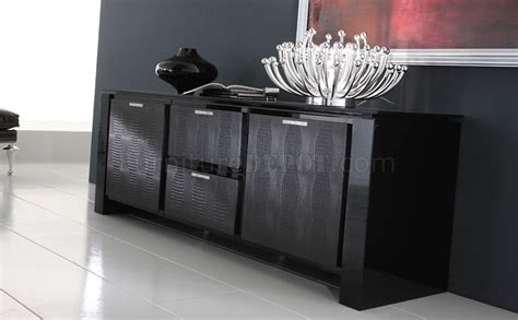 Black Finish Modern Buffet With Crystal Inlays Black Modern Buffet