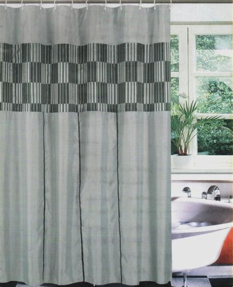 Black Gray Shower Curtain by Fabric Bath Shower Curtain Set Liner Rings Black Gray Ebay