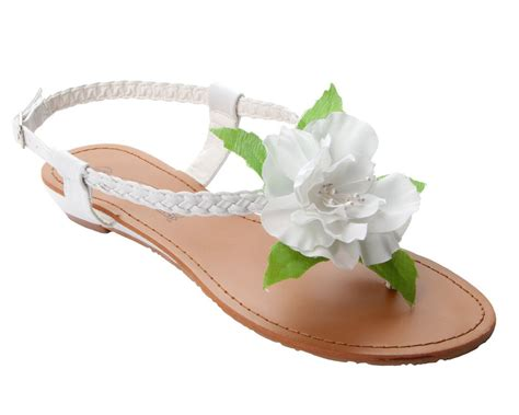 sandals with flowers womens white flower detail summer wedding flat