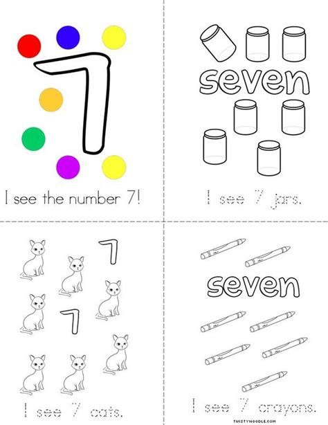 printable mini numbers i see the number 7 book twisty noodle