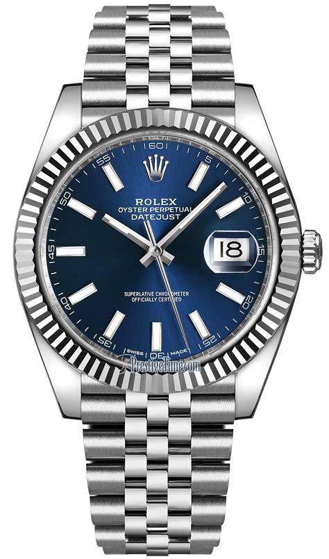 126334 Blue Index Jubilee Rolex Datejust 41mm Stainless Steel Mens Watch