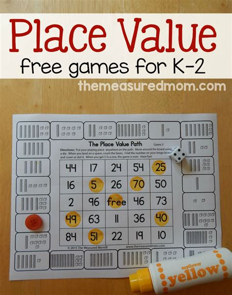 Printable Math Games On Place Value | free place value games for k 2 the measured mom
