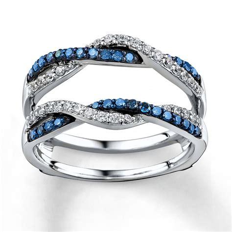 Jared   Blue/White Diamonds 1/2 ct tw Enhancer Ring 14K