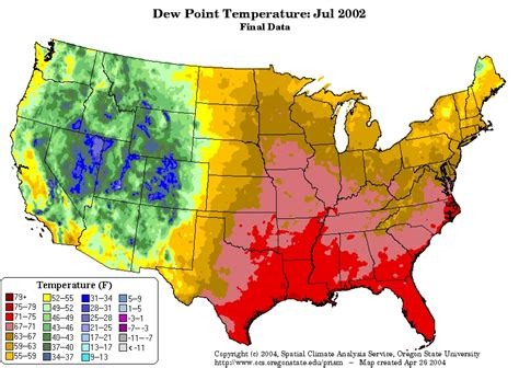 dew point map most thunderstorms occur in the summer season