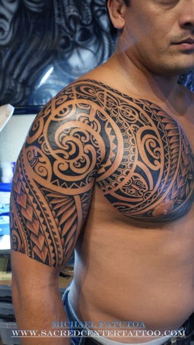 tribal chest and half sleeve tattoo polynesian tattoos archives seite 2 2 tattoou