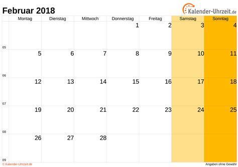 Kalender Zum Ausdrucken 2018 Februar 2018 Kalender Mit Feiertagen