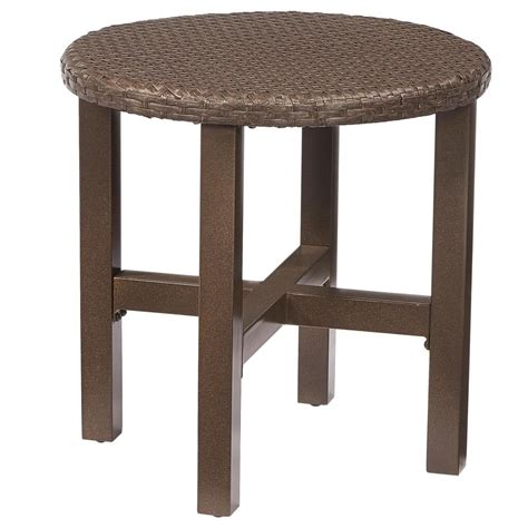 Outdoor Side Table Hton Bay Torquay Wicker Outdoor Side Table Fws60528 The Home Depot