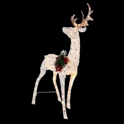 pvc lighted reindeer with sleigh home depot 59 98 home accents 48 in lighted thin pvc reindeer ty313 1411 at the home