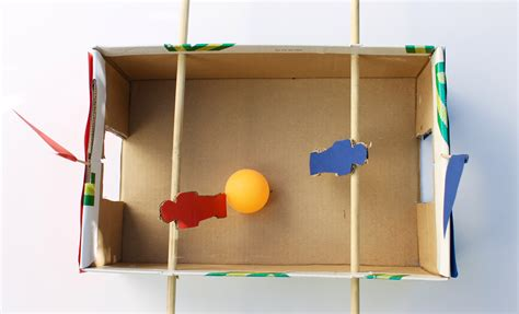 How To Make A Table Football Out Of Paper - easy craft how to make a shoebox foosball
