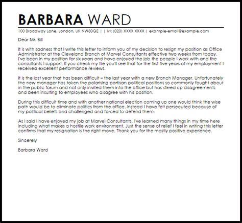Resignation letter due to hostile work environment livecareer