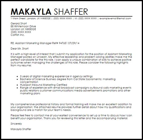 assistant marketing manager cover letter sample cover