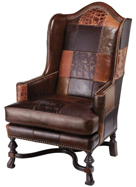 Patchwork Wingback Chair - leather patchwork wing chair western accent chairs