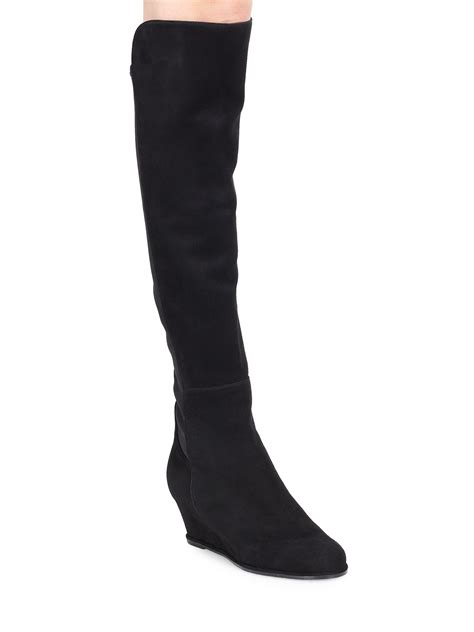 the knee suede wedge boots yu boots