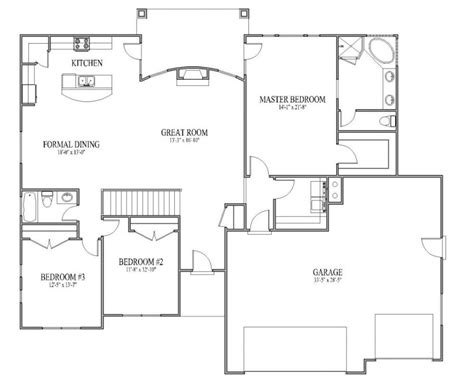 bedroom floor plans ranch plan open patio home 4 kevrandoz