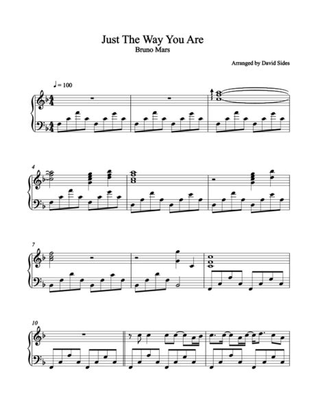 Just The Way You Are (Bruno Mars) Piano Sheet Music