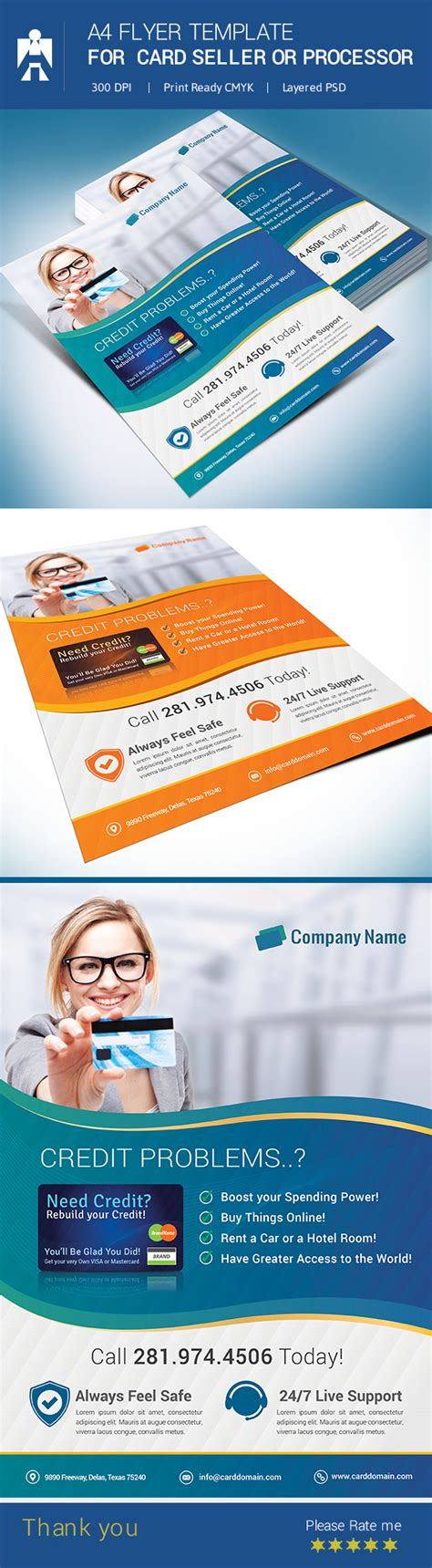 Debit Card Template To Understand by A4 Flyer Template For Debit Card Or Credit Card Seller On