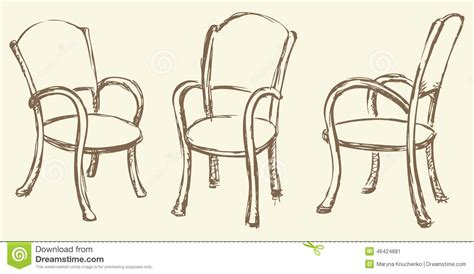 Rustic Bar Stool Plans by Vector Drawing Wooden Chairs With Armrests Stock Vector