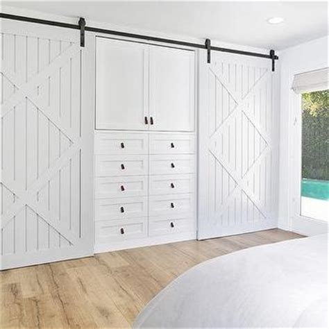 Built In Dresser With Leather Pulls Transitional Bedroom Barn Doors For Closets