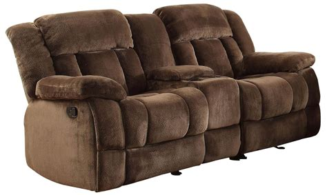 double reclining loveseat with console laurelton chocolate double glider reclining loveseat with
