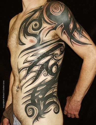 half body tribal tattoos custom tribal half torso tattoos by michael t
