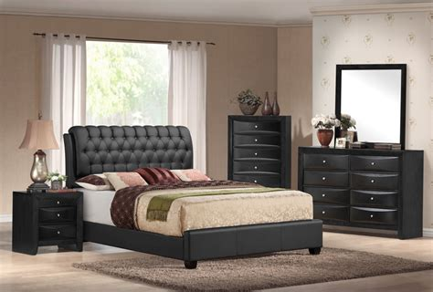 emily bedroom set emily black tufted 5 piece bedroom set furniture