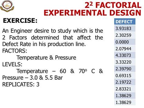 experimental design exercise 9 design of experiment