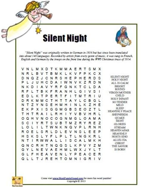 printable holiday puzzle games silent night word search puzzle printable christmas