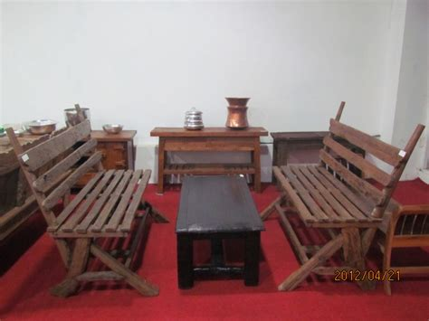 Meja Kayu Kelengkeng bangku teras jati antik kayu bulat crown furniture indonesia