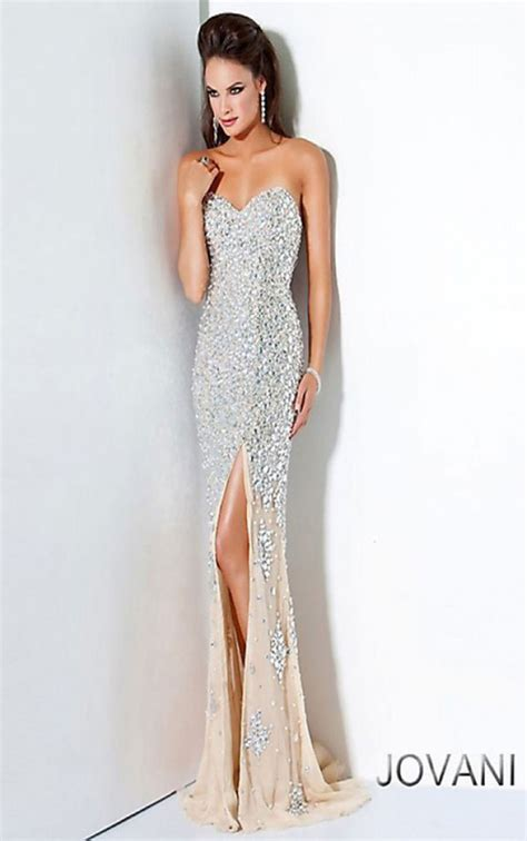 Dress Silver jovani dresses womens silver strapless dress
