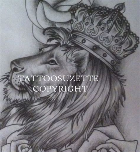 lion with crown tattoo design with crown design by tattoosuzette on deviantart