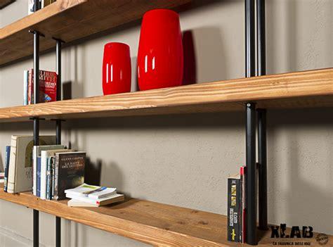 scaffali tubolari libreria da parete in legno e ferro quasimodo xlab