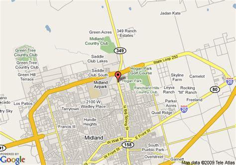 big springs texas map map of plaza inn midland