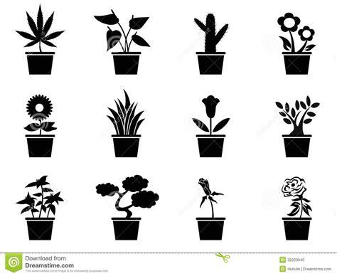 pot plants icons set stock vector illustration  leaf