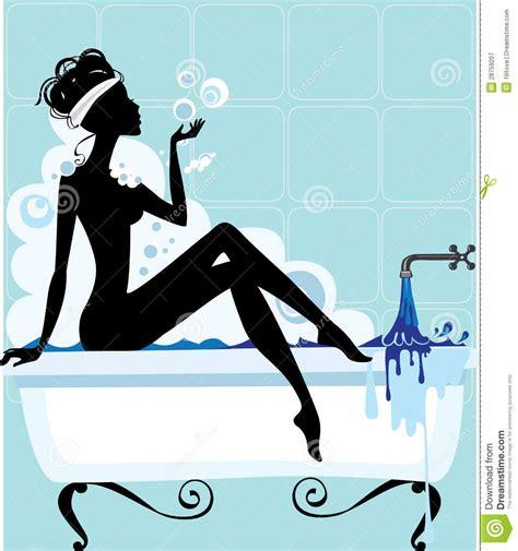 Bubbles For Bathtub Silhouette Of A Woman In A Bathtub Stock Vector
