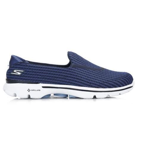 skechers womens trainers blue go walk 3 textile slip on