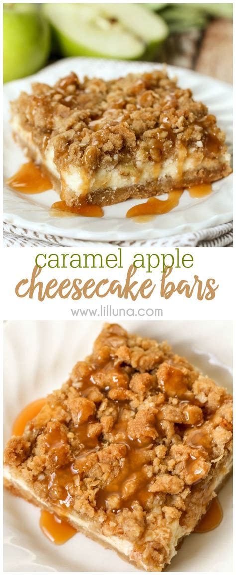 caramel apple cheesecake bars with streusel topping caramel apple cheesecake bars